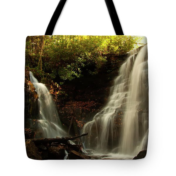 Tote Bag featuring the photograph Soco Waterfalls From Spillway by Chris Flees