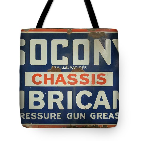 Tote Bag featuring the photograph Socony Sign by Chris Flees