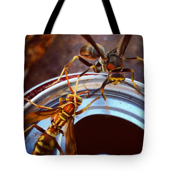 Soda Pop Bandits, Two Wasps On A Pop Can  Tote Bag