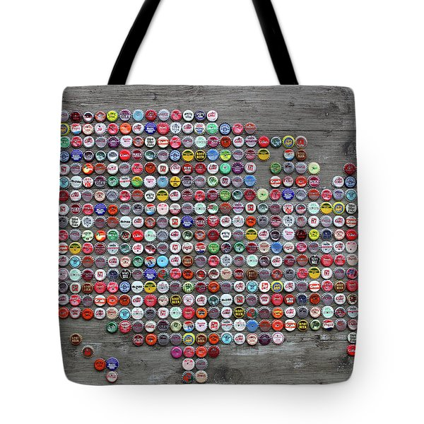 Soda Pop Bottle Cap Map Of The United States Of America Tote Bag by Design Turnpike