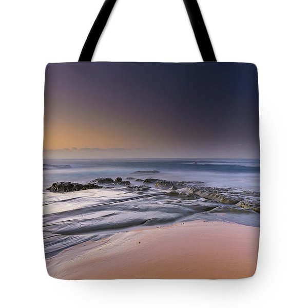 Soft And Rocky Sunrise Seascape Tote Bag