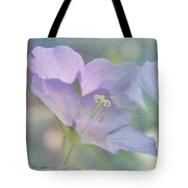 Tote Bag featuring the photograph Soft Blue by Ann Lauwers