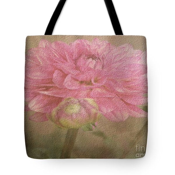 Soft Graceful Pink Painted Dahlia Tote Bag