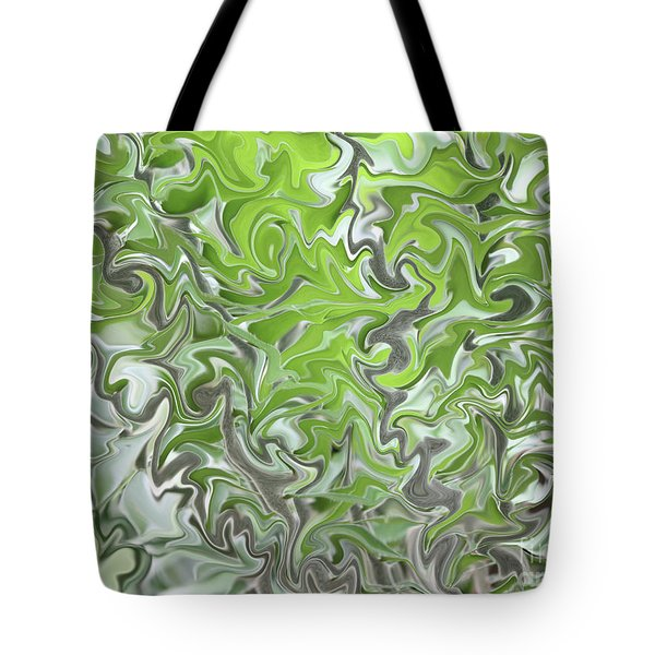 Soft Green And Gray Abstract Tote Bag by Carol Groenen