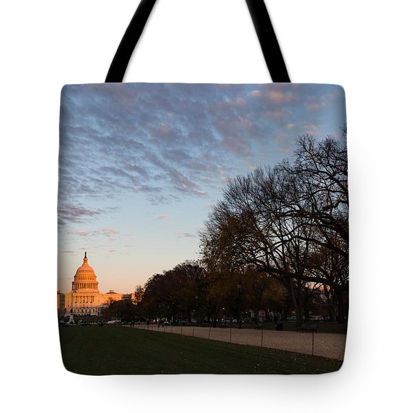Soft Orange Glow - U S Capitol And The National Mall At Sunset Tote Bag