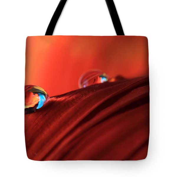 Soft Red Petals With Water Drops Tote Bag