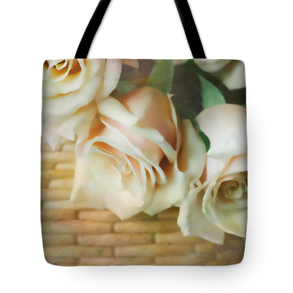 Soft Roses In A Basket Tote Bag