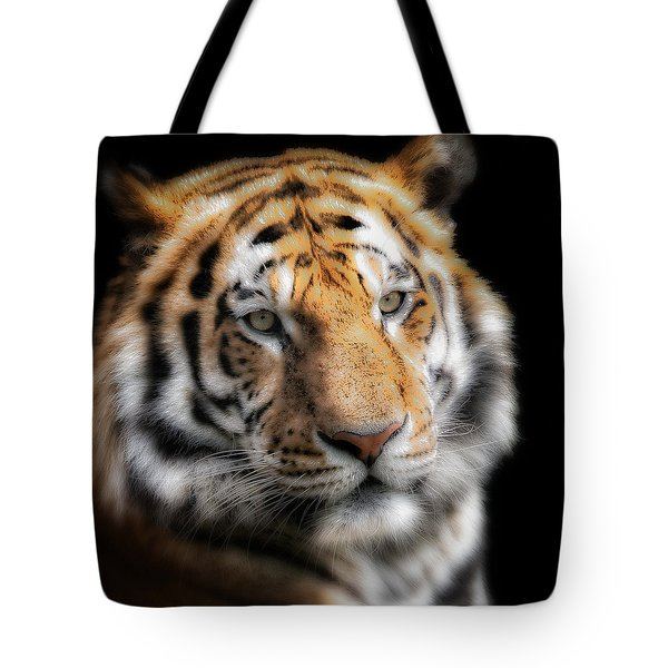 Soft Tiger Portrait Tote Bag by Chris Boulton