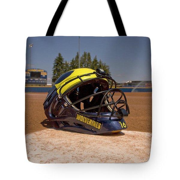 Softball Catcher Helmet Tote Bag