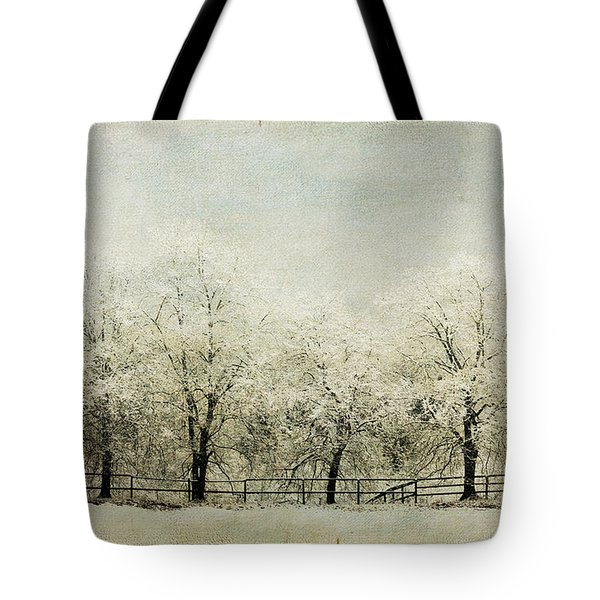 Softly Falling Snow Tote Bag by Chris Armytage