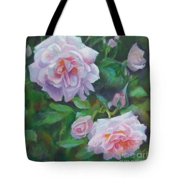 Tote Bag featuring the painting Softly Pink Roses by Karen Kennedy Chatham