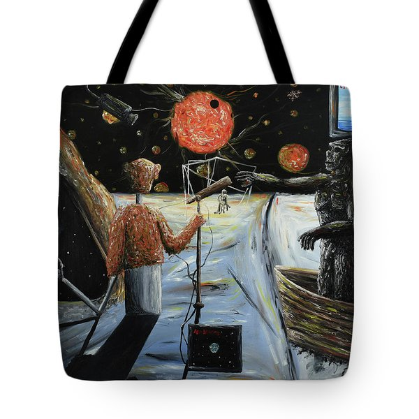 Tote Bag featuring the painting Solar Broadcast -transition- by Ryan Demaree