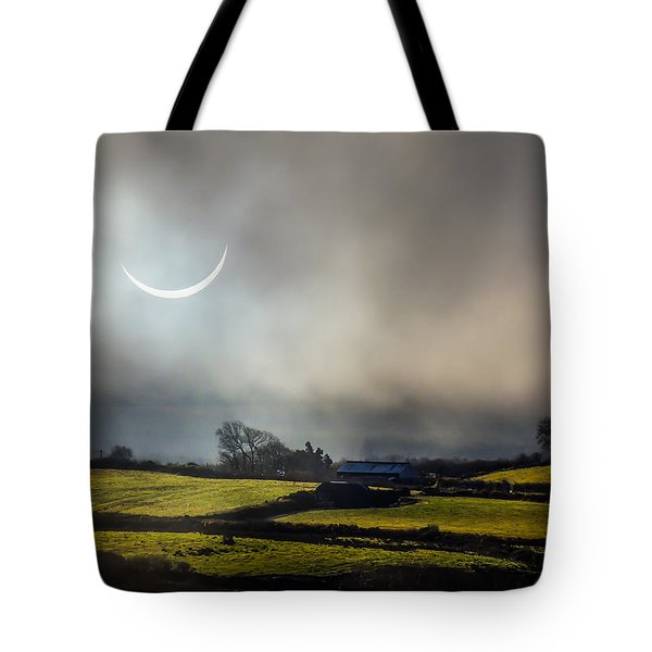 Solar Eclipse Over County Clare Countryside Tote Bag