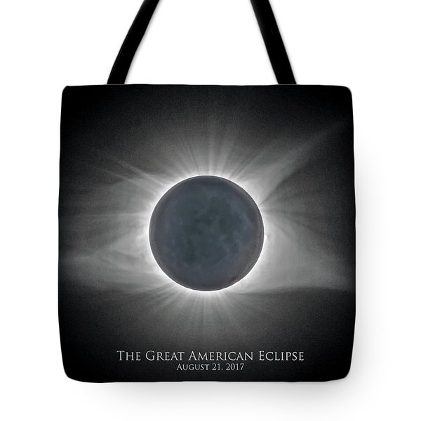 Tote Bag featuring the photograph Solar Eclipse With Moon Detail And Text by Lori Coleman