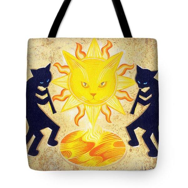 Solar Feline Entity Tote Bag by John Deecken