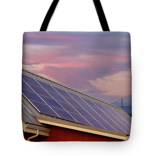 Solar Panels On Roof Of House Tote Bag by David Gn