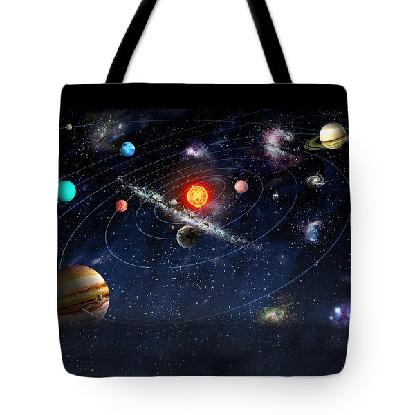 Tote Bag featuring the digital art Solar System by Gina Dsgn