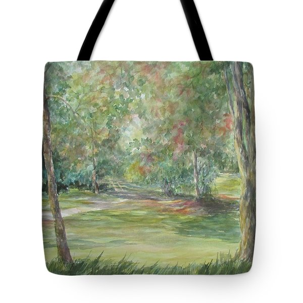 Tote Bag featuring the painting Sold River Nature Trails by Gloria Turner