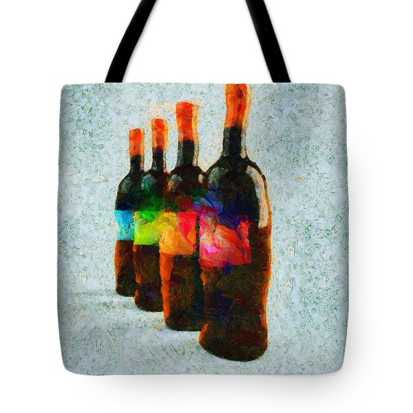 Tote Bag featuring the painting Soldats De Bouteilles by Sir Josef - Social Critic - ART
