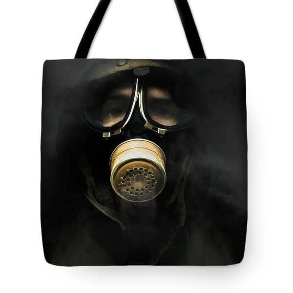 Soldier In Gas Mask Tote Bag