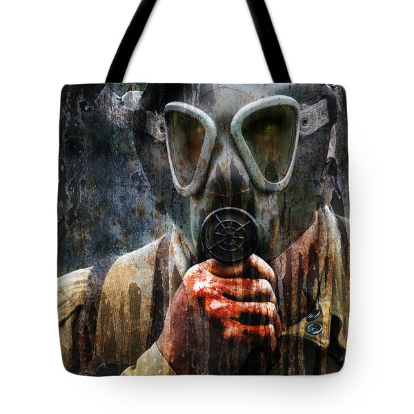 Soldier In World War 2 Gas Mask Tote Bag by Jill Battaglia