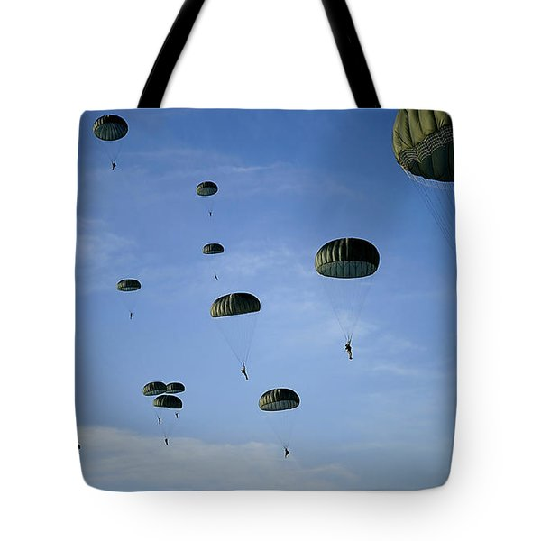 Soldiers Descend Under A Parachute Tote Bag