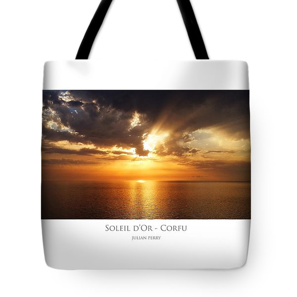 Tote Bag featuring the digital art Soleil D'or - Corfu by Julian Perry