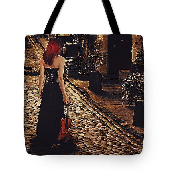 Tote Bag featuring the digital art Soloist - Solitary Woman With Violin by Galen Valle
