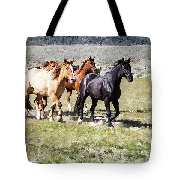 Tote Bag featuring the digital art Sombrero Ranch Horse Drive, Galloping Horses by Nadja Rider