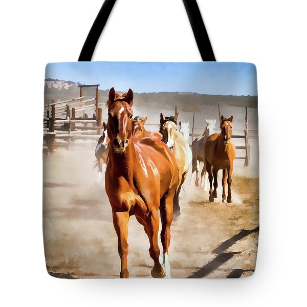 Tote Bag featuring the digital art Sombrero Ranch Horse Drive, Galloping Into The Dusty Corrals by Nadja Rider