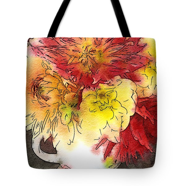 Tote Bag featuring the photograph Some Summer Dahlias 2 by Ronda Broatch