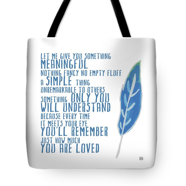 Tote Bag featuring the painting Something Meaningful by Lisa Weedn