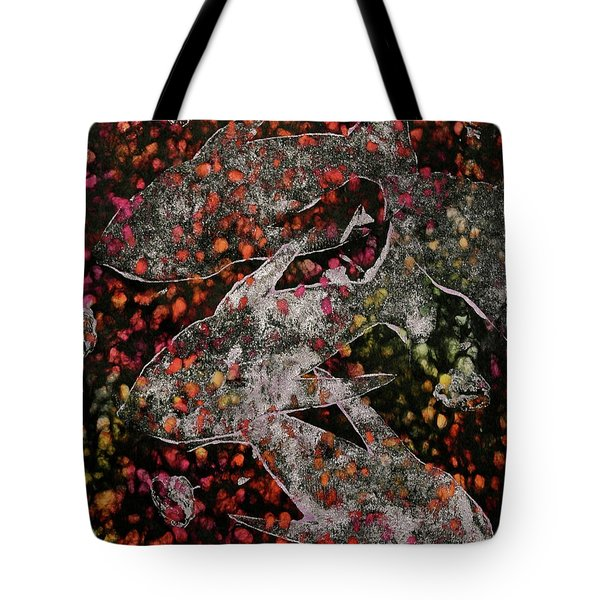 Tote Bag featuring the mixed media Something's Fishy by Michele Myers