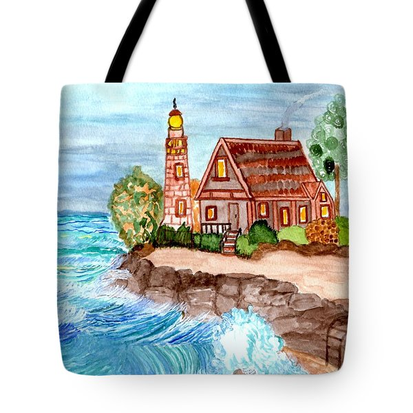 Tote Bag featuring the painting Somewhere On The Edge by Connie Valasco