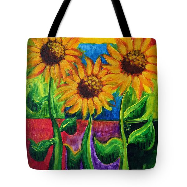 Tote Bag featuring the painting Sonflowers II by Holly Carmichael