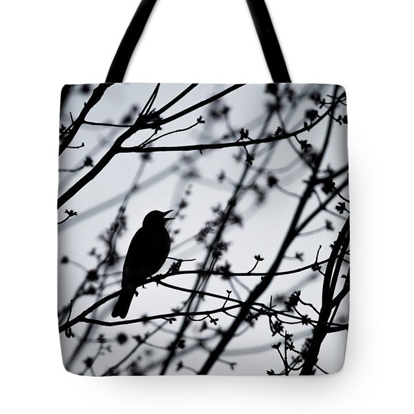 Tote Bag featuring the photograph Song Bird Silhouette by Terry DeLuco