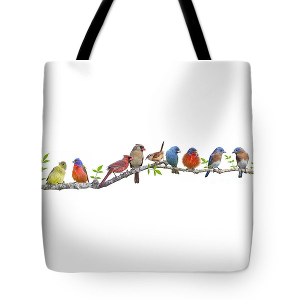 Songbirds On A Leafy Branch Tote Bag