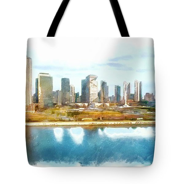 Tote Bag featuring the painting Songdo Concept City by Mario Carini