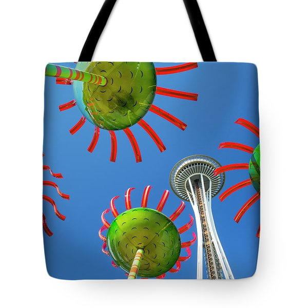 Tote Bag featuring the photograph Sonic Bloom In Seattle Center by Adam Romanowicz