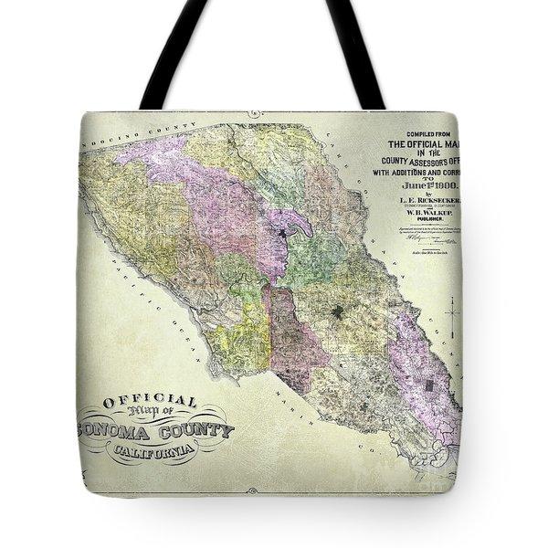 Sonoma County Map 1900 Tote Bag