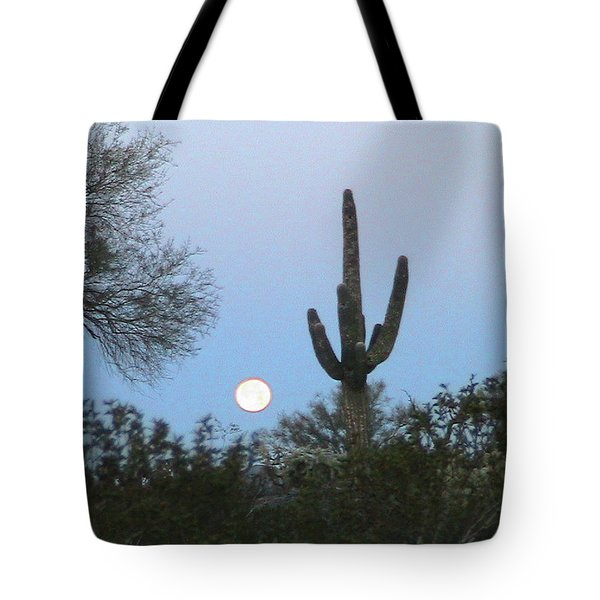 Sonoran Desert Moonset Tote Bag
