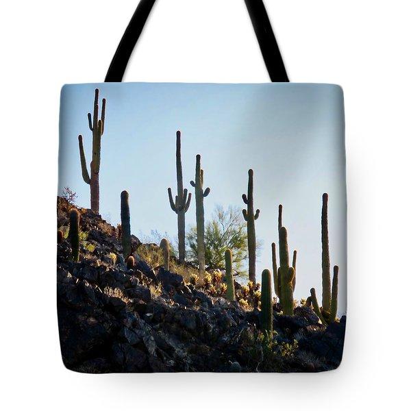 Sonoran Desert Saguaro Slope Tote Bag