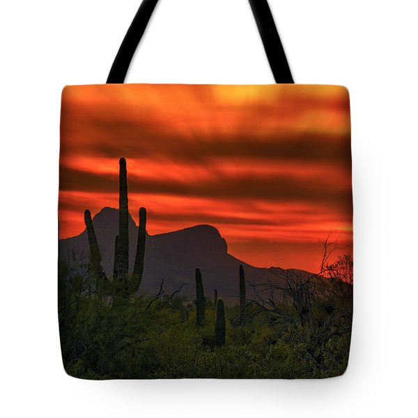 Tote Bag featuring the photograph Sonoran Sunset H38 by Mark Myhaver