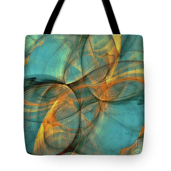 Tote Bag featuring the digital art Soothing Blue by Deborah Benoit