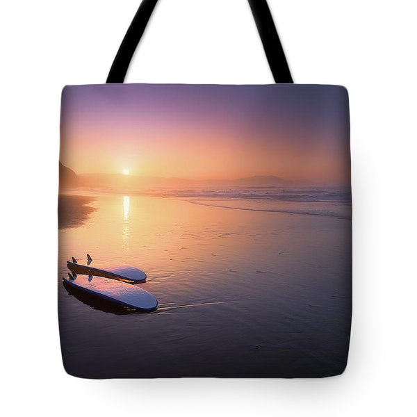 Sopelana Beach With Surfboards On The Shore Tote Bag