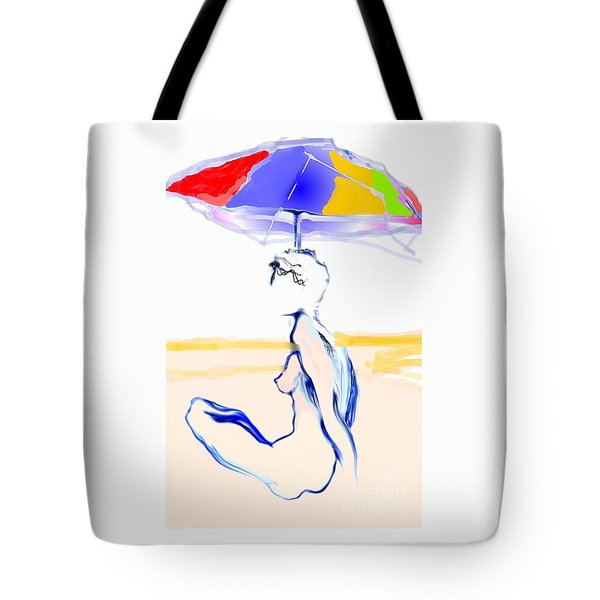 Sophi's Umbrella #2 - Female Nude Tote Bag by Carolyn Weltman