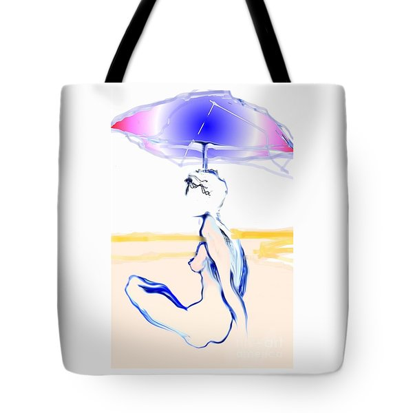 Tote Bag featuring the painting Sophi's Umbrella - Female Nude by Carolyn Weltman