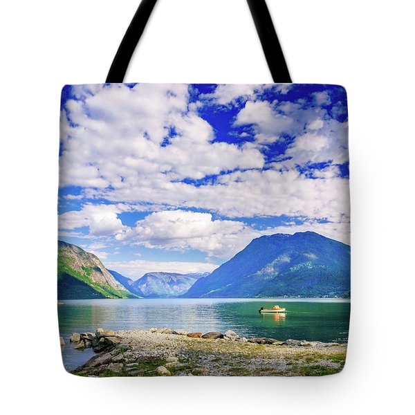 Tote Bag featuring the photograph Soreimsfjorden by Dmytro Korol