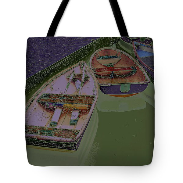 Tote Bag featuring the photograph Sorrento Harbor Boats With Sabattier by Bill Barber