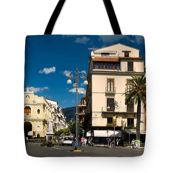 Sorrento Italy Piazza Tote Bag by Sally Weigand
